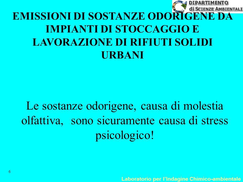 Laboratorio per l'Indagine Chimico-ambientale 17 Stazioni di monitoraggio della qualità dell'aria disaggregati per regioni Numero di analizzatori presenti per i principali inquinanti Febbraio 2003 RegioneStazioniC 6 H 6 COCOVNO 2 O 3 IPAPM10SO 2 Piemonte76154576631-3138 Lombardia169883113353-48135 Veneto65934162729-1252 Liguria676291736236 952 Emilia R.1071474119137-3244 Toscana76174719472924233 Umbria1635114123 4 9 Marche26321-2018-1015 Lazio5182053515- 839 Abruzzo9463 7 51 3 2 Campania24-9-20 6- 511 Puglia7--- 7-- 7 7 Sicilia6692416211331453 Fonte: APAT