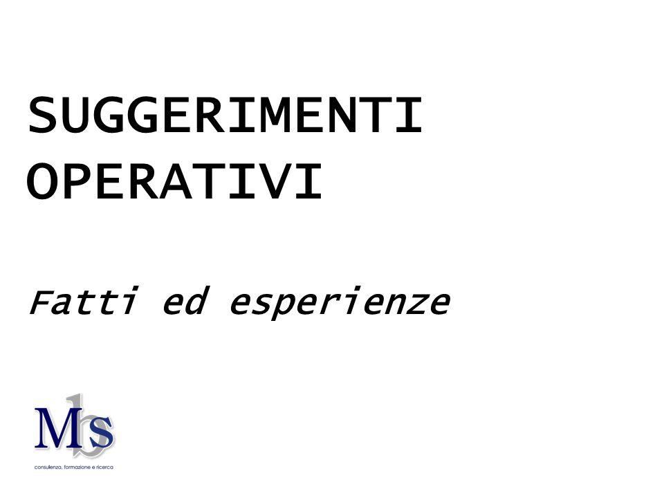 SUGGERIMENTI OPERATIVI Fatti ed esperienze