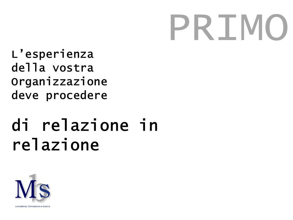 L'esperienza della vostra Organizzazione deve procedere di relazione in relazione PRIMO