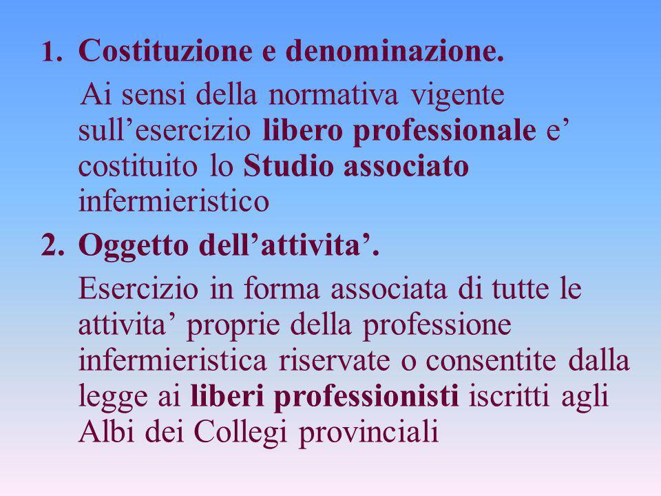 1. Costituzione e denominazione. Ai sensi della normativa vigente sull'esercizio libero professionale e' costituito lo Studio associato infermieristic