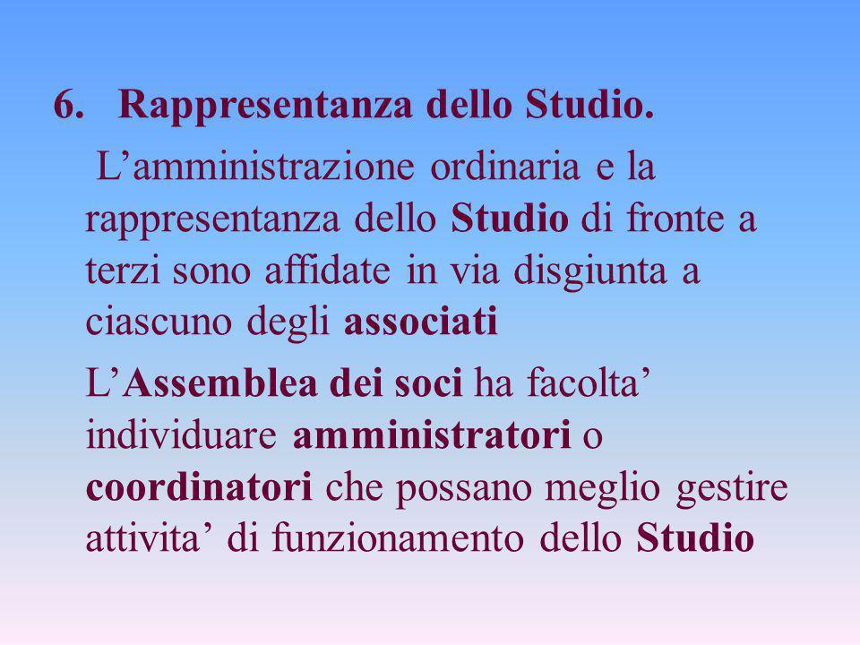 6. Rappresentanza dello Studio. L'amministrazione ordinaria e la rappresentanza dello Studio di fronte a terzi sono affidate in via disgiunta a ciascu