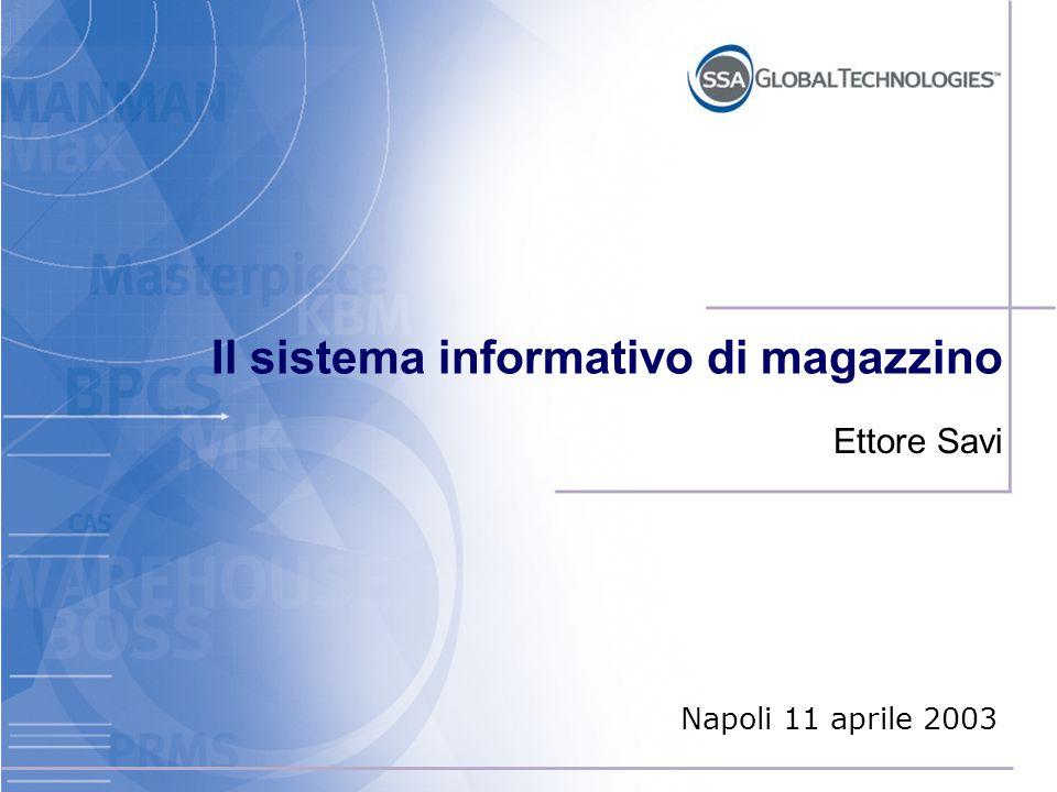 Il sistema informativo di magazzino (WMS - Warehouse Management System) Zero errori di informazione Verifica al 100% delle informazioni Operazioni dirette dal sistema Inventario ciclico permanente
