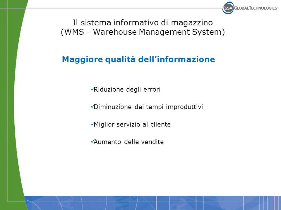 Il sistema informativo di magazzino (WMS - Warehouse Management System) Maggiore qualità dell'informazione Riduzione degli errori Diminuzione dei temp