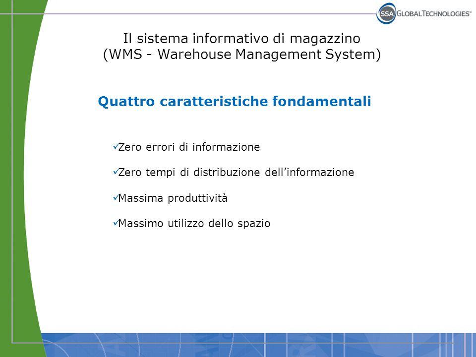 Il sistema informativo di magazzino (WMS - Warehouse Management System) Quattro caratteristiche fondamentali Zero errori di informazione Zero tempi di
