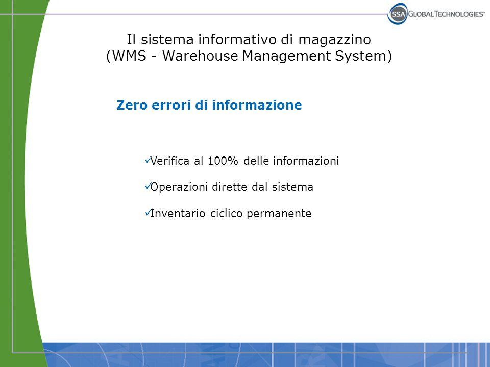 Il sistema informativo di magazzino (WMS - Warehouse Management System) Zero errori di informazione Verifica al 100% delle informazioni Operazioni dir
