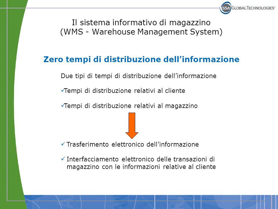 Il sistema informativo di magazzino (WMS - Warehouse Management System) Zero tempi di distribuzione dell'informazione Due tipi di tempi di distribuzio