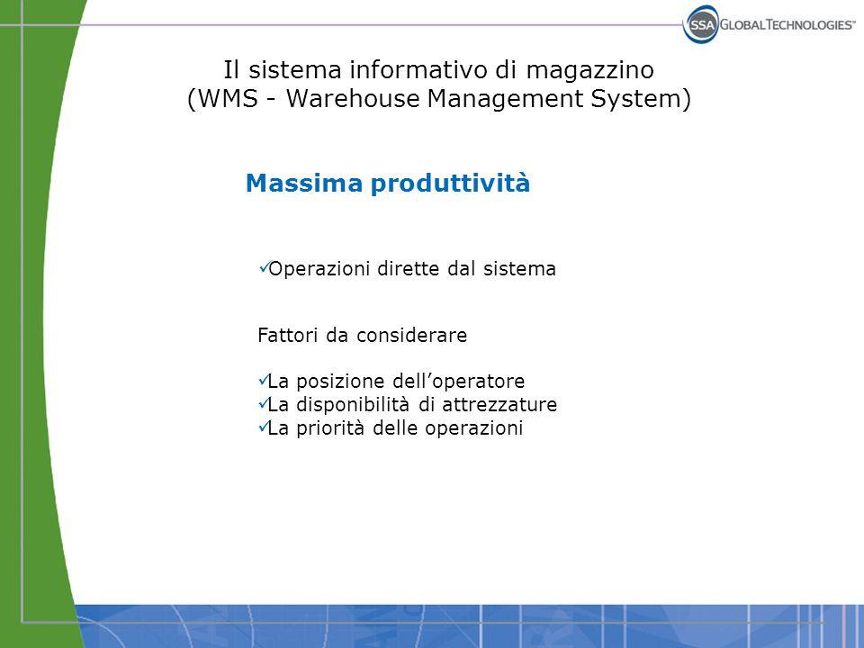 Il sistema informativo di magazzino (WMS - Warehouse Management System) Massima produttività Operazioni dirette dal sistema Fattori da considerare La