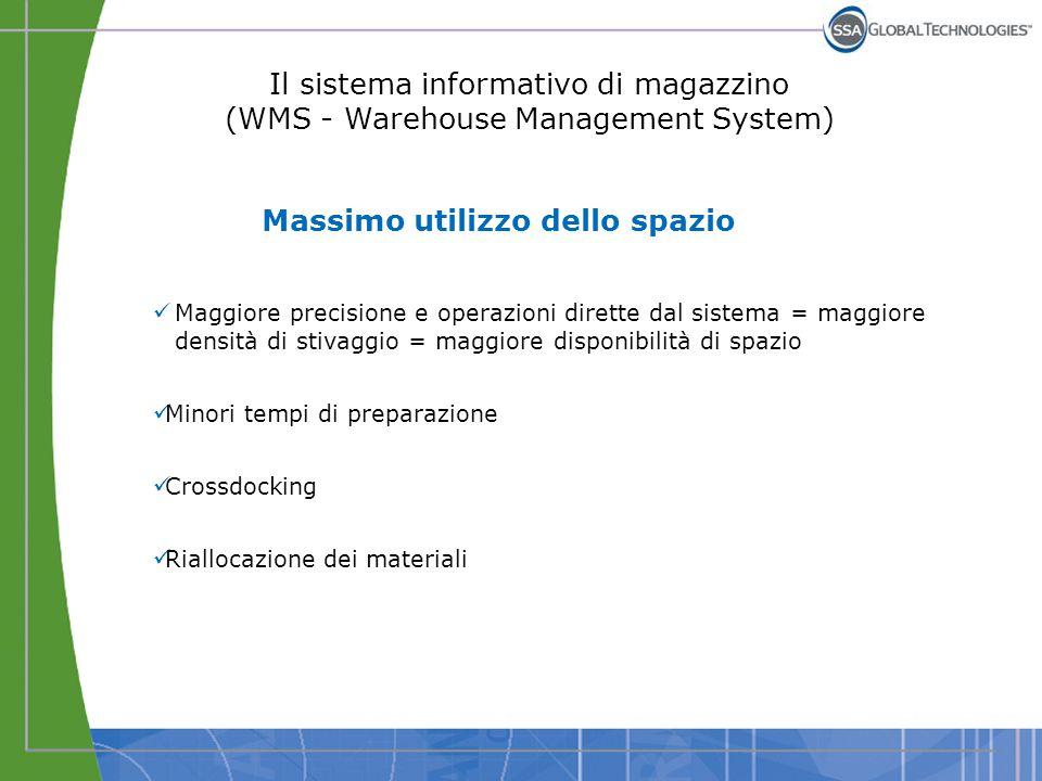Il sistema informativo di magazzino (WMS - Warehouse Management System) Massimo utilizzo dello spazio Maggiore precisione e operazioni dirette dal sis