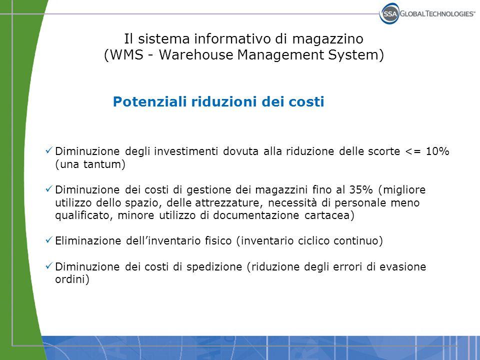 Il sistema informativo di magazzino (WMS - Warehouse Management System) Potenziali riduzioni dei costi Diminuzione degli investimenti dovuta alla ridu