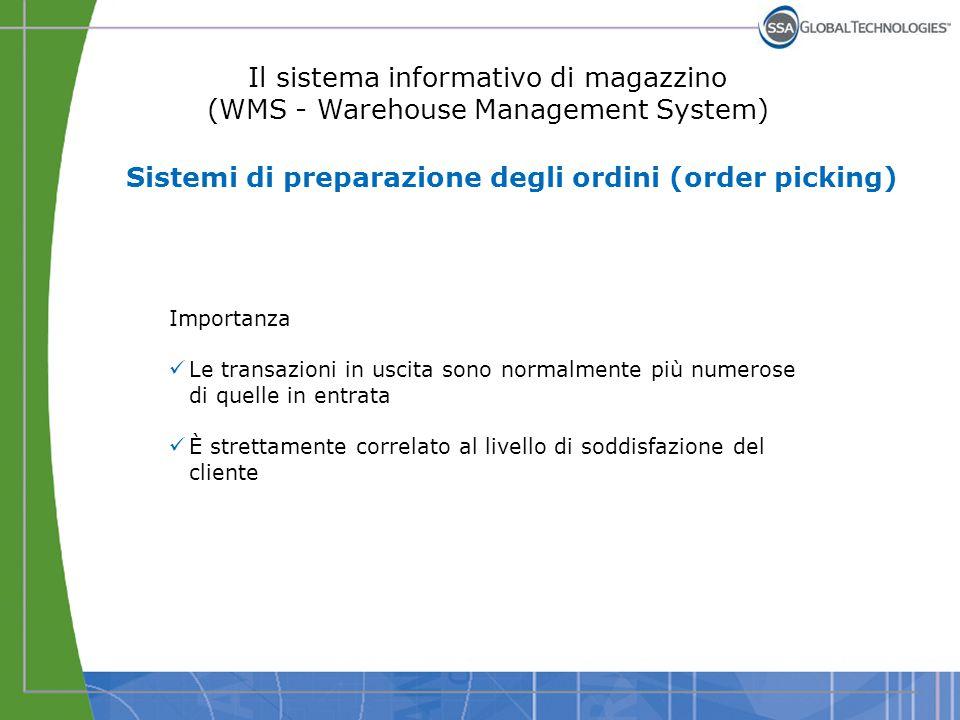 Il sistema informativo di magazzino (WMS - Warehouse Management System) Sistemi di preparazione degli ordini (order picking) Importanza Le transazioni