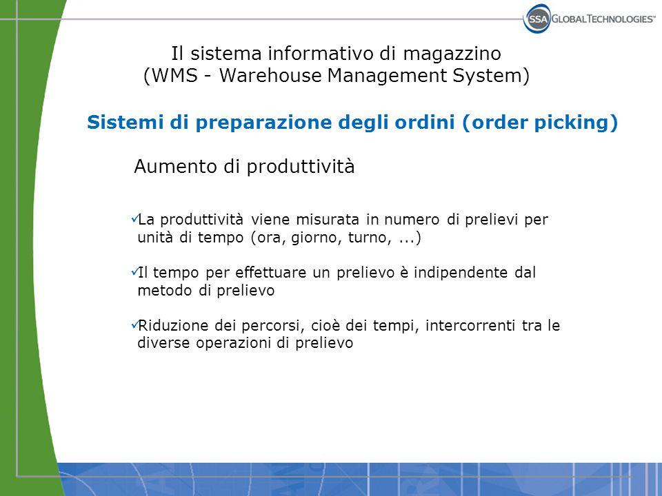 Il sistema informativo di magazzino (WMS - Warehouse Management System) Aumento di produttività La produttività viene misurata in numero di prelievi p