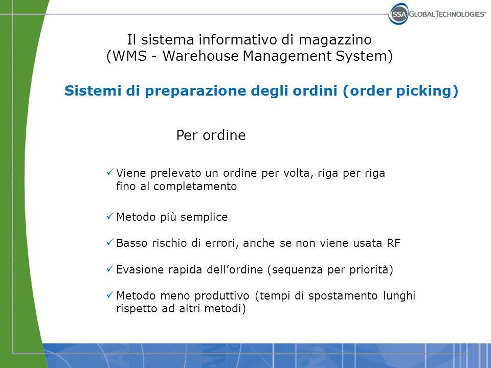 Il sistema informativo di magazzino (WMS - Warehouse Management System) Per ordine Viene prelevato un ordine per volta, riga per riga fino al completa