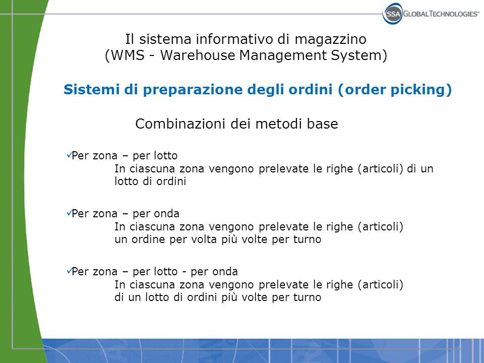 Il sistema informativo di magazzino (WMS - Warehouse Management System) Combinazioni dei metodi base Per zona – per lotto In ciascuna zona vengono pre