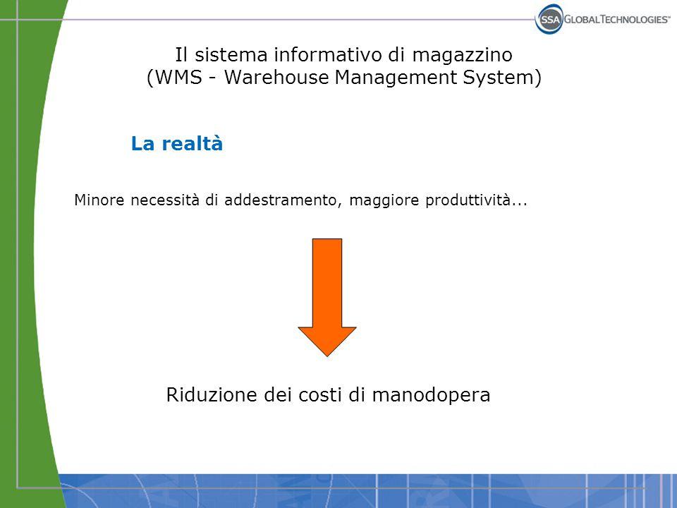 Il sistema informativo di magazzino (WMS - Warehouse Management System) La realtà Utilizzo efficiente dello spazio disponibile, riallocazione delle scorte...