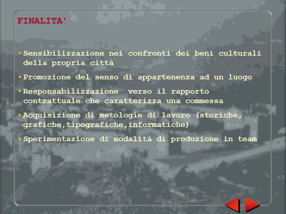 FINALITA' Sensibilizzazione nei confronti dei beni culturali della propria città Promozione del senso di appartenenza ad un luogo Responsabilizzazione