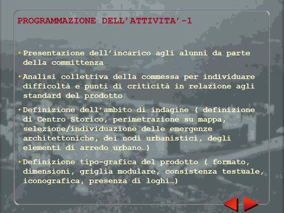 PROGRAMMAZIONE DELL'ATTIVITA'-1 Presentazione dell'incarico agli alunni da parte della committenza Analisi collettiva della commessa per individuare d