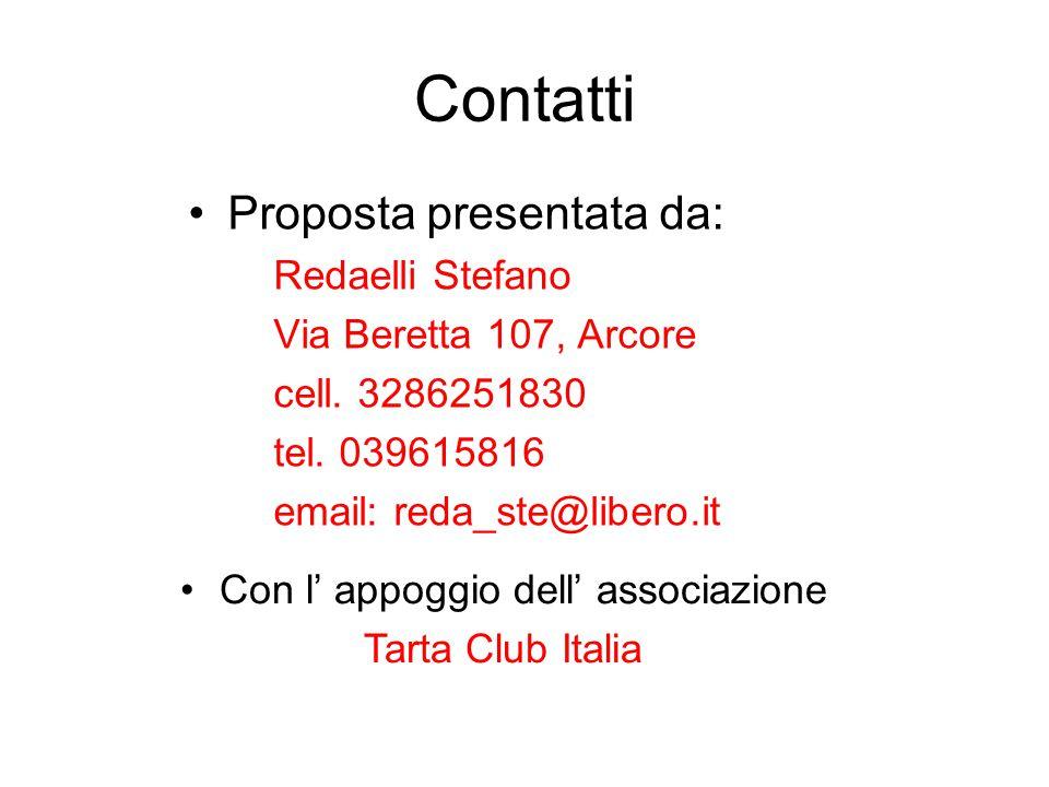 Contatti Proposta presentata da: Redaelli Stefano Via Beretta 107, Arcore cell. 3286251830 tel. 039615816 email: reda_ste@libero.it Con l' appoggio de