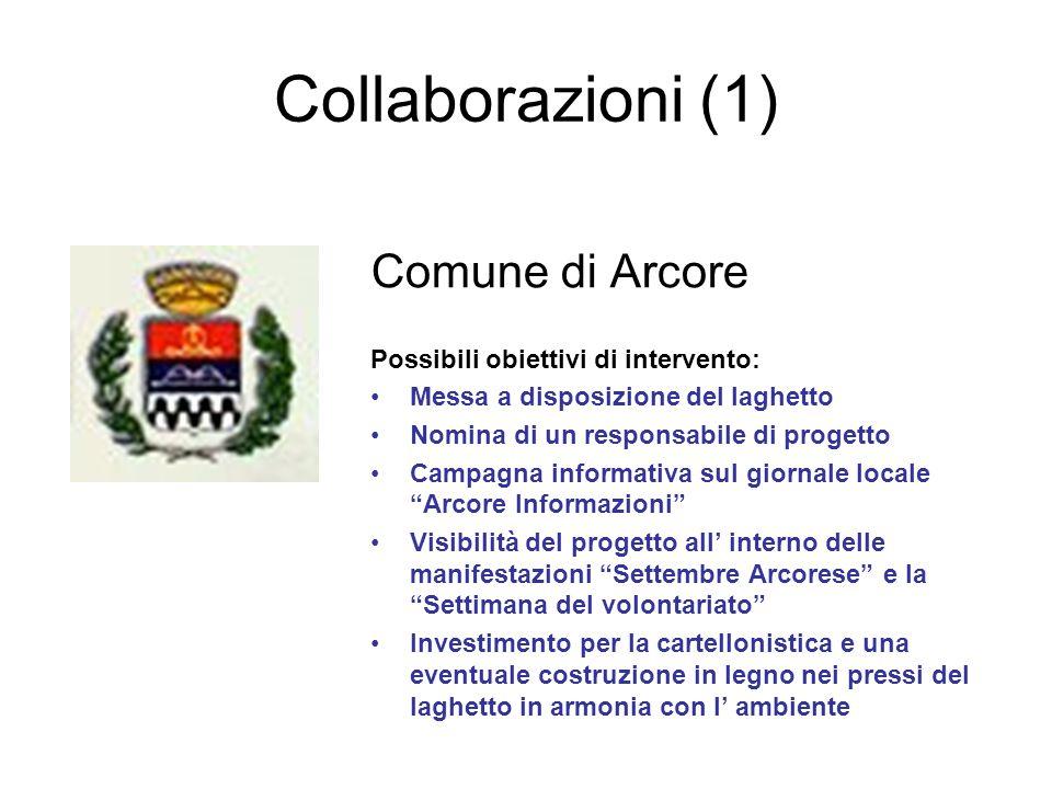 Collaborazioni (1) Comune di Arcore Possibili obiettivi di intervento: Messa a disposizione del laghetto Nomina di un responsabile di progetto Campagn