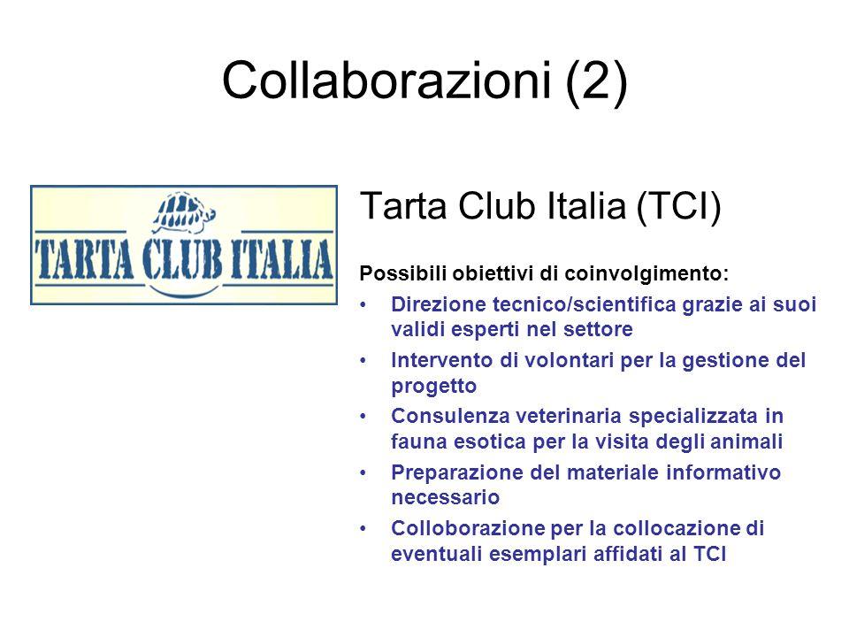 Collaborazioni (2) Tarta Club Italia (TCI) Possibili obiettivi di coinvolgimento: Direzione tecnico/scientifica grazie ai suoi validi esperti nel sett
