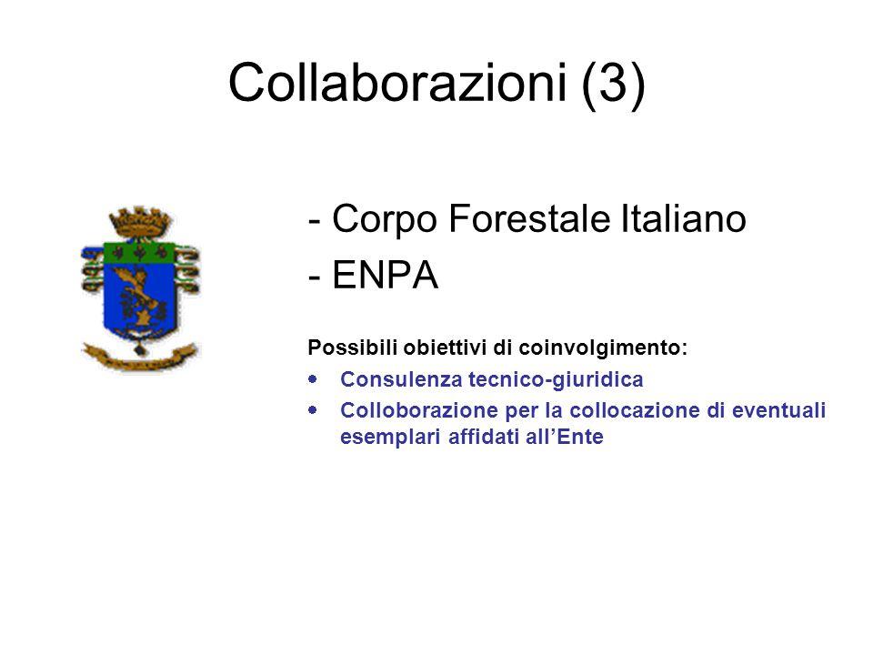 Collaborazioni (3) - Corpo Forestale Italiano - ENPA Possibili obiettivi di coinvolgimento:  Consulenza tecnico-giuridica  Colloborazione per la col