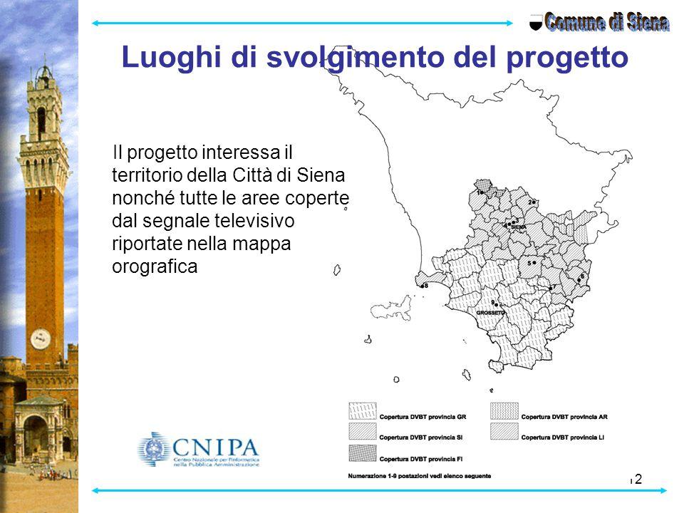 12 Luoghi di svolgimento del progetto Il progetto interessa il territorio della Città di Siena nonché tutte le aree coperte dal segnale televisivo riportate nella mappa orografica