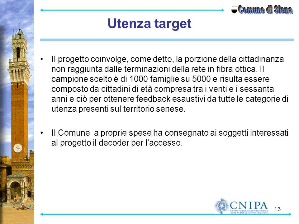 13 Utenza target Il progetto coinvolge, come detto, la porzione della cittadinanza non raggiunta dalle terminazioni della rete in fibra ottica.