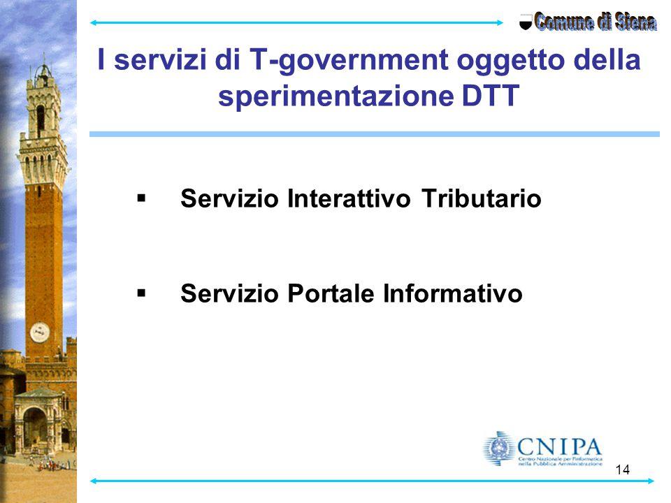 14 I servizi di T-government oggetto della sperimentazione DTT  Servizio Interattivo Tributario  Servizio Portale Informativo