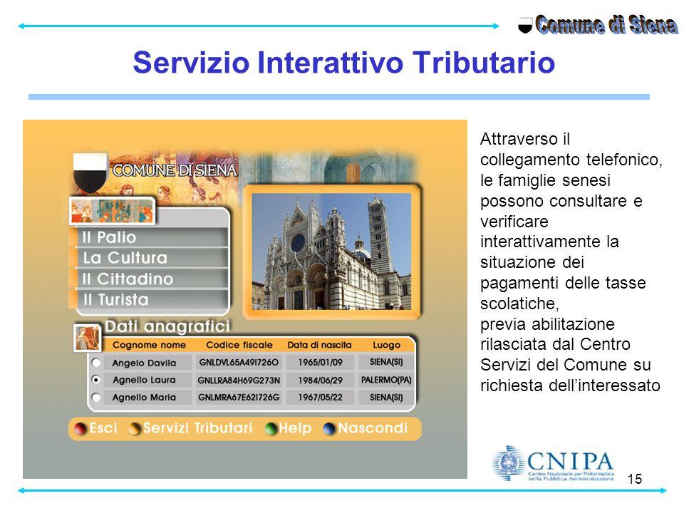 15 Servizio Interattivo Tributario Attraverso il collegamento telefonico, le famiglie senesi possono consultare e verificare interattivamente la situa