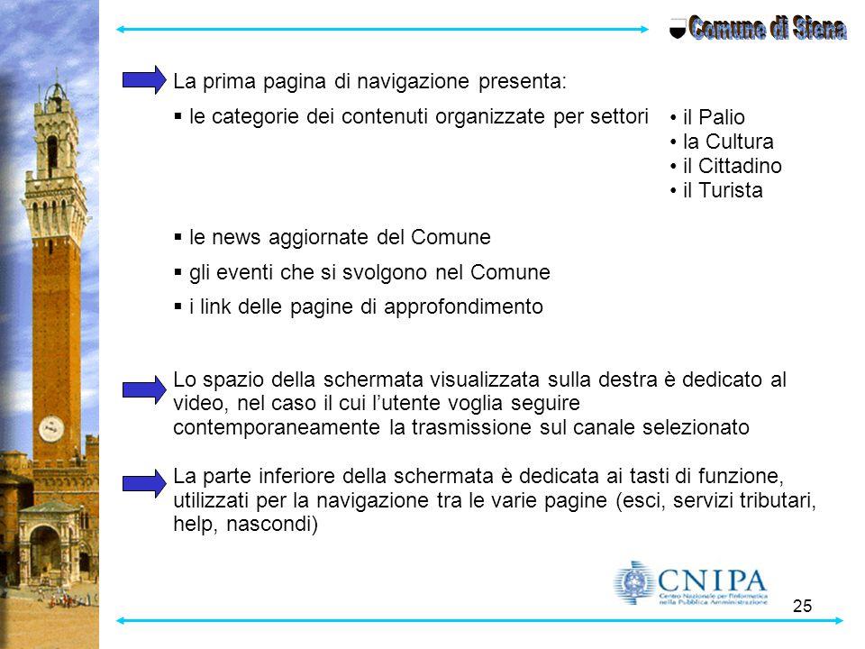 25 La prima pagina di navigazione presenta:  le categorie dei contenuti organizzate per settori  le news aggiornate del Comune  gli eventi che si s