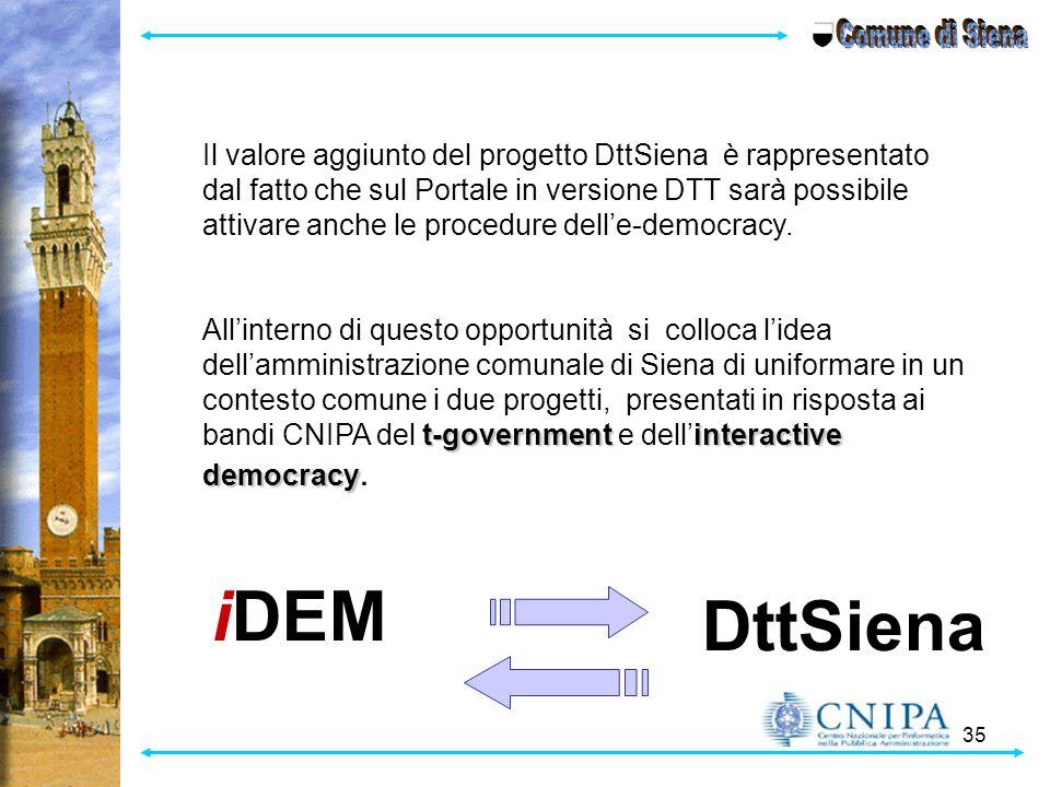35 Il valore aggiunto del progetto DttSiena è rappresentato dal fatto che sul Portale in versione DTT sarà possibile attivare anche le procedure dell'