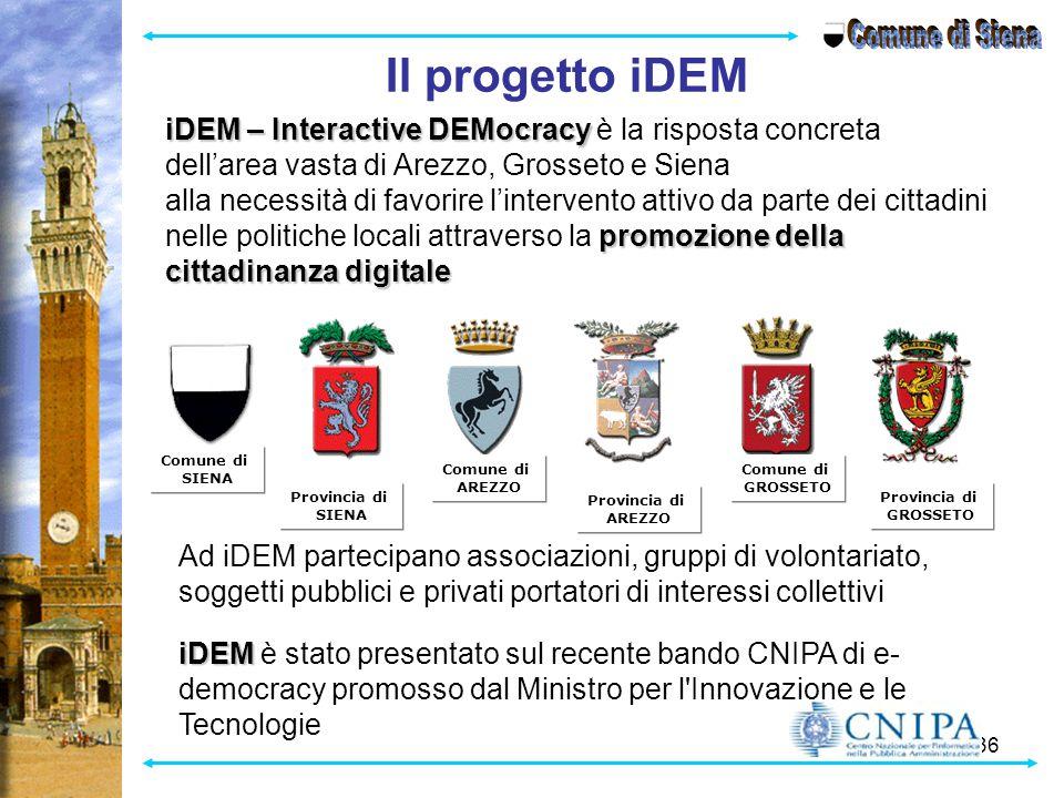 36 Il progetto iDEM iDEM – Interactive DEMocracy iDEM – Interactive DEMocracy è la risposta concreta dell'area vasta di Arezzo, Grosseto e Siena promo