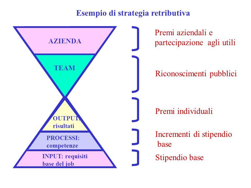 AZIENDA TEAM OUTPUT: risultati INPUT: requisiti base del job PROCESSI: competenze Premi aziendali e partecipazione agli utili Riconoscimenti pubblici