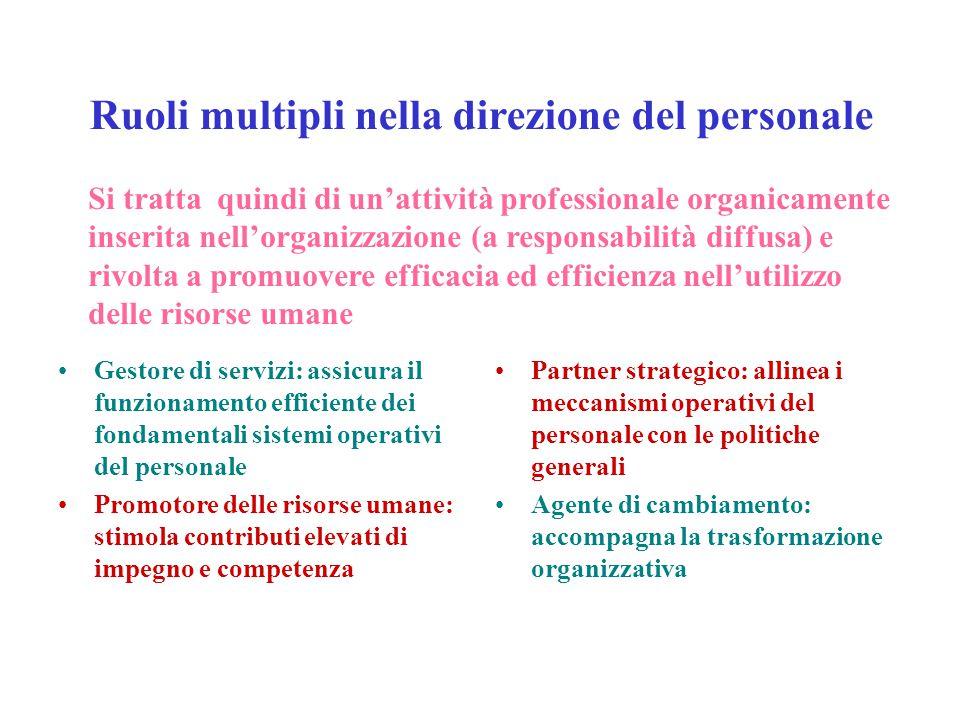Ruoli multipli nella direzione del personale Gestore di servizi: assicura il funzionamento efficiente dei fondamentali sistemi operativi del personale