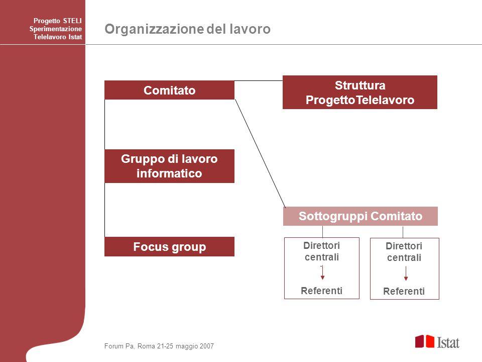 Organizzazione del lavoro Progetto STELI Sperimentazione Telelavoro Istat Direttori centrali Referenti Direttori centrali Referenti Forum Pa, Roma 21-