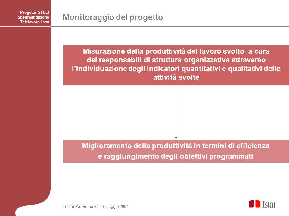Monitoraggio del progetto Progetto STELI Sperimentazione Telelavoro Istat Miglioramento della produttività in termini di efficienza e raggiungimento d