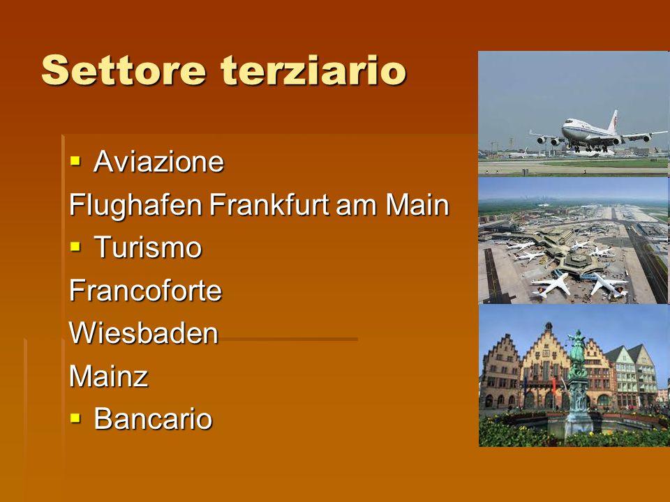 Settore terziario  Aviazione Flughafen Frankfurt am Main  Turismo FrancoforteWiesbadenMainz  Bancario