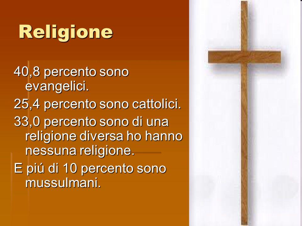 Religione 40,8 percento sono evangelici. 25,4 percento sono cattolici. 33,0 percento sono di una religione diversa ho hanno nessuna religione. E piú d