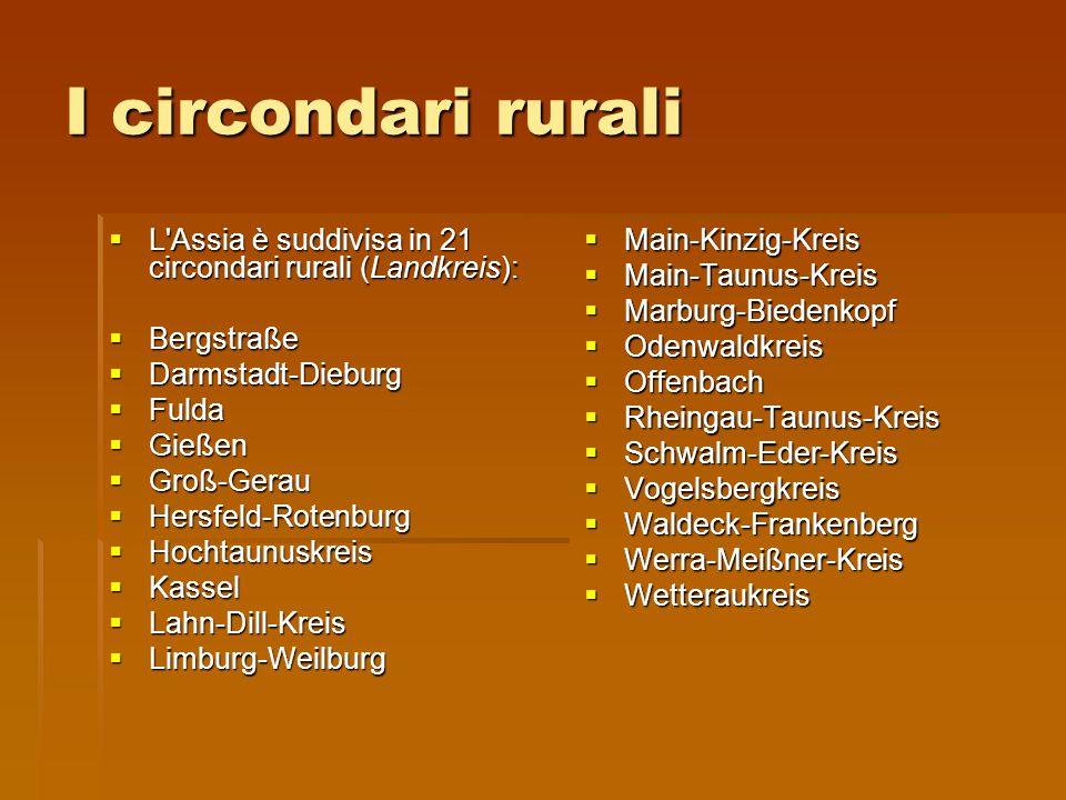 I circondari rurali  L'Assia è suddivisa in 21 circondari rurali (Landkreis):  Bergstraße  Darmstadt-Dieburg  Fulda  Gießen  Groß-Gerau  Hersfe
