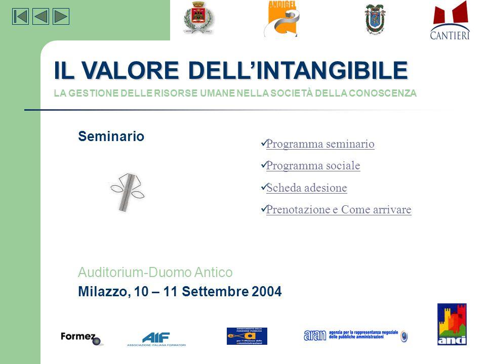 Seminario Auditorium-Duomo Antico Milazzo, 10 – 11 Settembre 2004 IL VALORE DELL'INTANGIBILE LA GESTIONE DELLE RISORSE UMANE NELLA SOCIETÀ DELLA CONOS