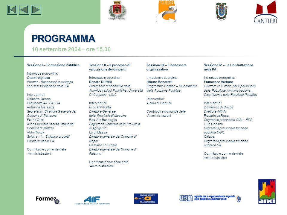 PROGRAMMA 10 settembre 2004 – ore 15.00 Sessione I – Formazione Pubblica Introduce e coordina: Gianni Agnesa Formez - Responsabile sviluppo servizi di