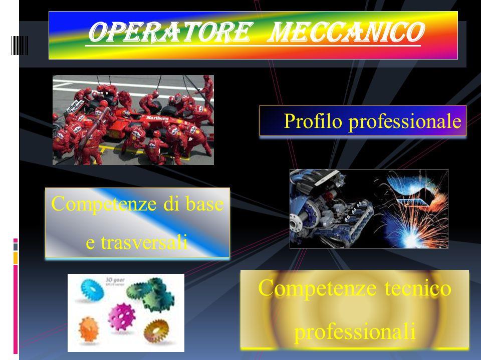 Operatore meccanico Profilo professionale Competenze di base e trasversali Competenze di base e trasversali Competenze tecnico professionali Competenz