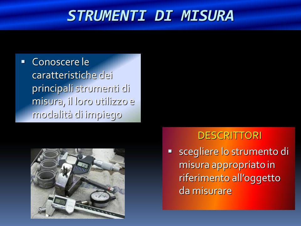 STRUMENTI DI MISURA  Conoscere le caratteristiche dei principali strumenti di misura, il loro utilizzo e modalità di impiego DESCRITTORI  scegliere