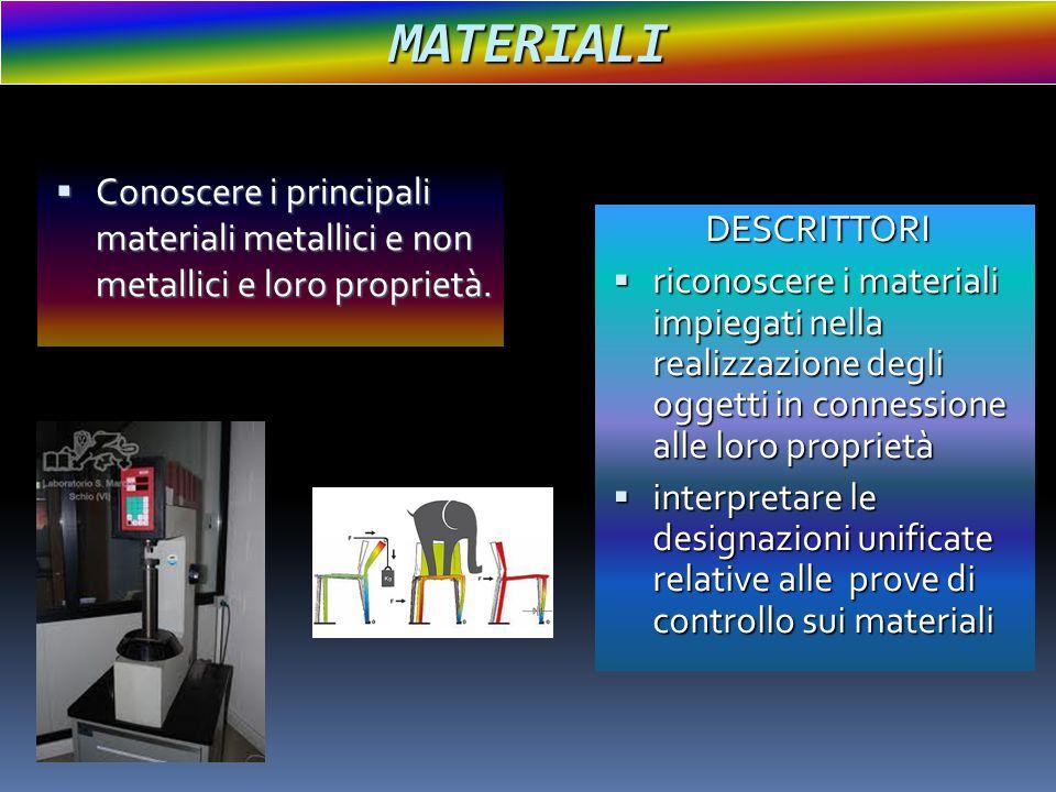 MATERIALI  Conoscere i principali materiali metallici e non metallici e loro proprietà. DESCRITTORI  riconoscere i materiali impiegati nella realizz