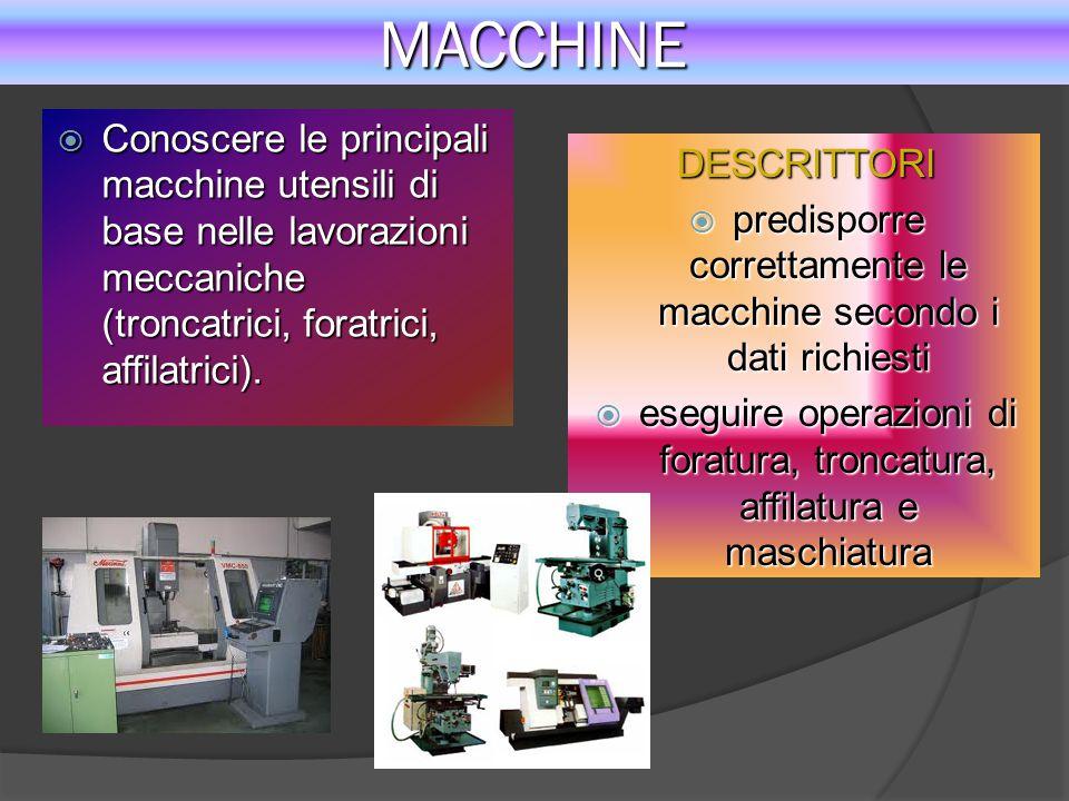 MACCHINE  Conoscere le principali macchine utensili di base nelle lavorazioni meccaniche (troncatrici, foratrici, affilatrici). DESCRITTORI  predisp