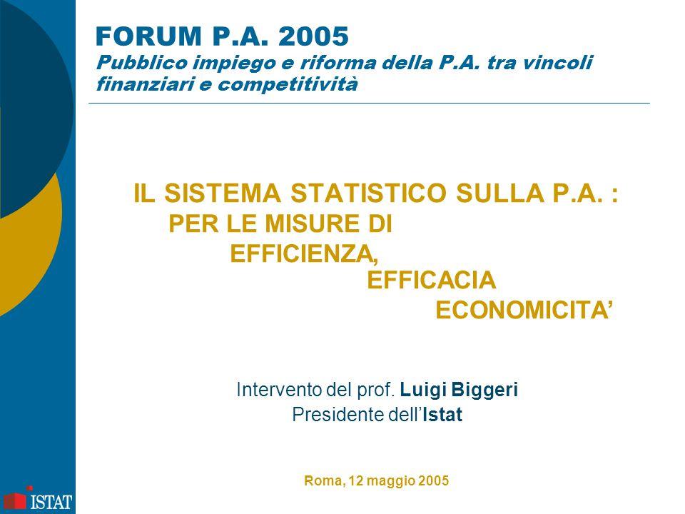 FORUM P.A. 2005 Pubblico impiego e riforma della P.A. tra vincoli finanziari e competitività IL SISTEMA STATISTICO SULLA P.A. : PER LE MISURE DI EFFIC