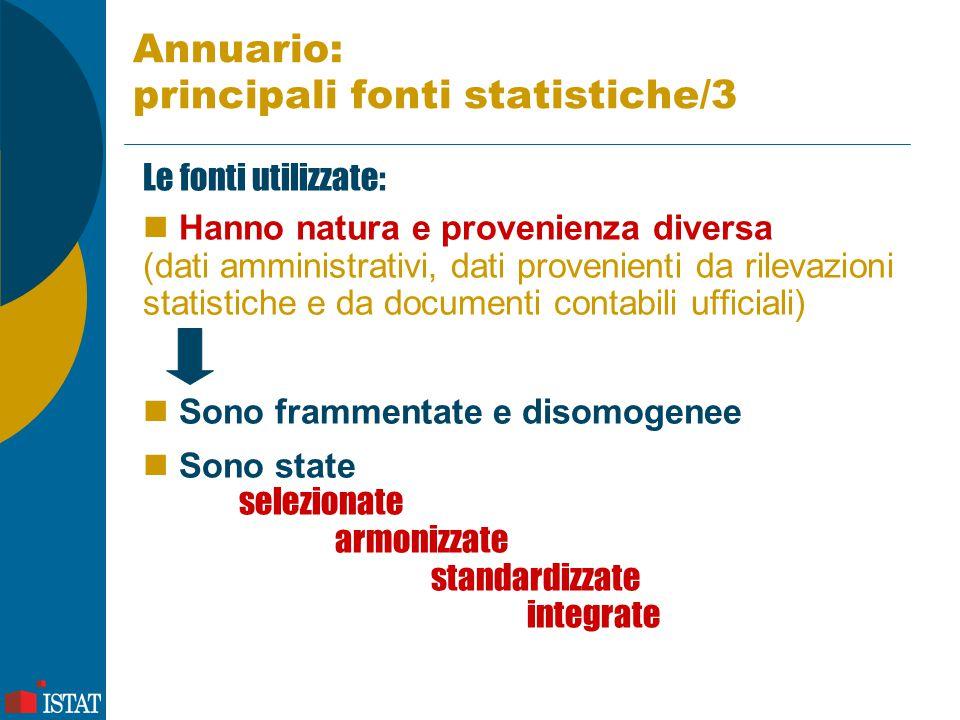 Annuario: principali fonti statistiche/3 Le fonti utilizzate: Hanno natura e provenienza diversa (dati amministrativi, dati provenienti da rilevazioni