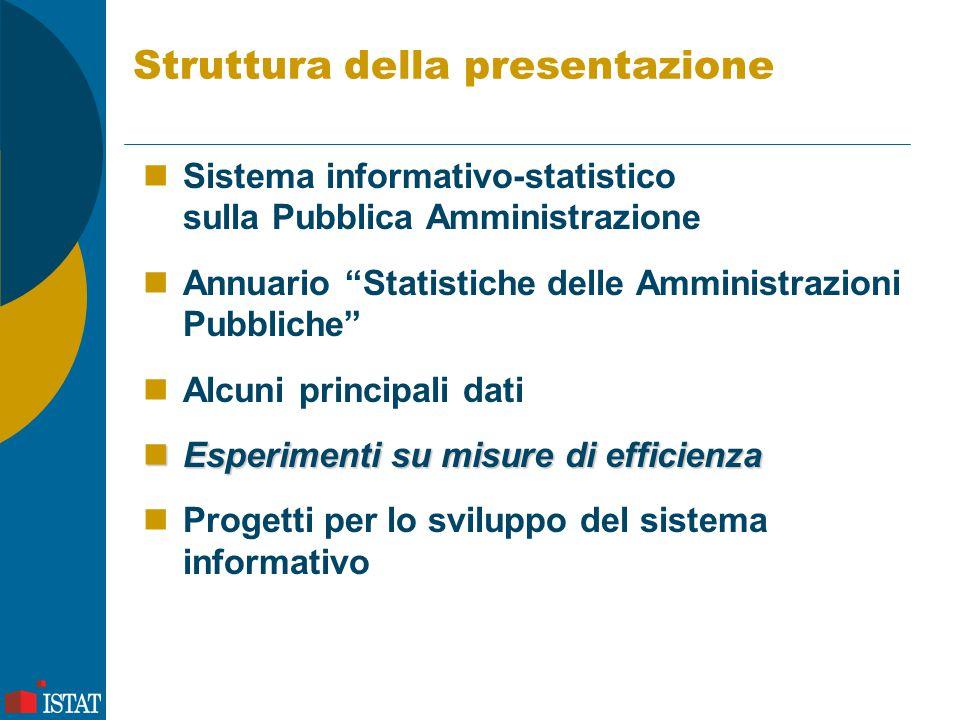 Struttura della presentazione Sistema informativo-statistico sulla Pubblica Amministrazione Annuario Statistiche delle Amministrazioni Pubbliche Alcuni principali dati Esperimenti su misure di efficienza Esperimenti su misure di efficienza Progetti per lo sviluppo del sistema informativo