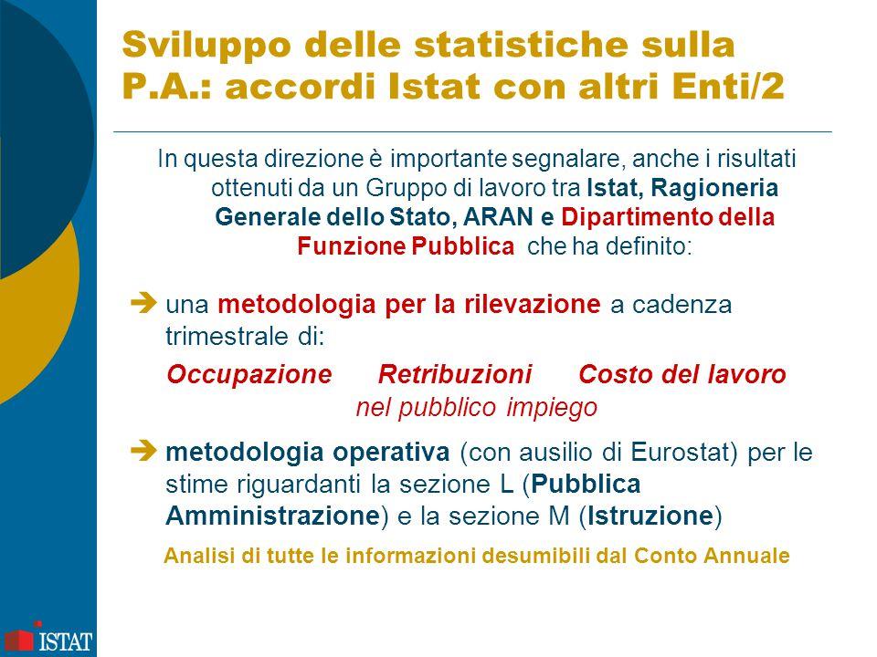 Sviluppo delle statistiche sulla P.A.: accordi Istat con altri Enti/2 In questa direzione è importante segnalare, anche i risultati ottenuti da un Gru
