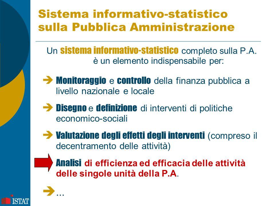 Sistema informativo-statistico sulla Pubblica Amministrazione Un sistema informativo-statistico completo sulla P.A. è un elemento indispensabile per: