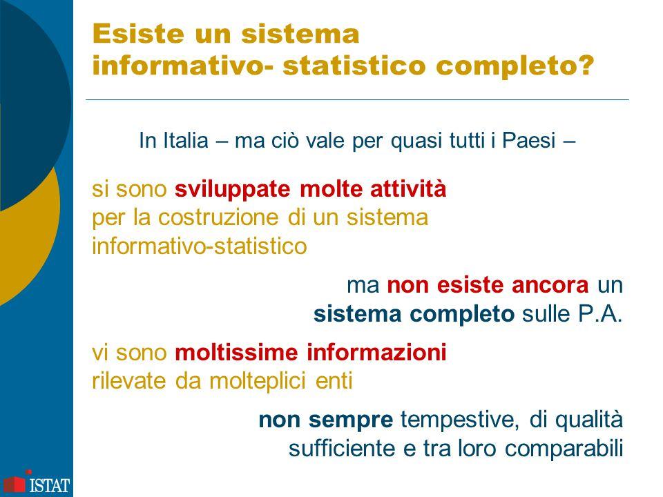 Esiste un sistema informativo- statistico completo? In Italia – ma ciò vale per quasi tutti i Paesi – si sono sviluppate molte attività per la costruz